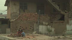 Nepal 1 Year After the Earthquake. Children's Make Believe Houses 4K - stock footage
