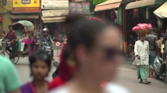 Nepal 1 Year After the Earthquake. Kathmandu Thamel Rickshaws 4K - stock footage