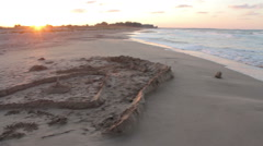 Sand castle on the seashore, Panorama View Stock Footage
