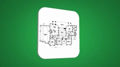 Stock Video Footage of House Plan - Transition Blueprint - green 01