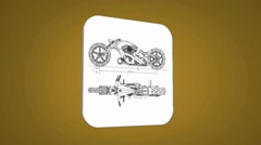 Motorbike - Transition Blueprint - yellow 01 Stock Footage