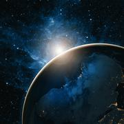 Sunrise over the Earth. Elements of this image furnished by NASA - stock photo