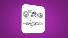 Vector Map intro - Motorbike - Transition Blueprint - purple 01 Stock Footage