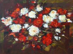 White and Red roses, handmade painting - stock illustration