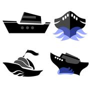 Set of Boat Icons - stock illustration