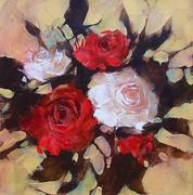 White and Red roses, handmade painting Stock Illustration