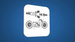 Vector Map intro - Old bike - Transition Blueprint - blue 01 - stock footage