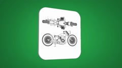 Vector Map intro - Old bike - Transition Blueprint - green 01 - stock footage