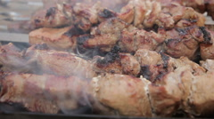 Barbecue With Delicious Grilled Meat On Grill. Stock Footage