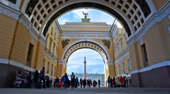 Saint Petersburg, Russia - Triumphal Arch of General Staff Building Stock Footage