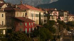 Sala Comacina village in Lake Como, Italy, pan Stock Footage