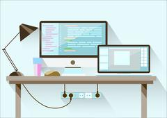Creative office desktop workspace. Flat design. - stock illustration