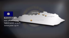 3D animated Map of Kentucky Stock Footage