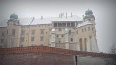 Winter snow in Wawel in Krakow, Poland Stock Footage