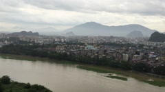 Panorama of Guilin and its karst mountains from Fubo hill - stock footage