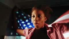 African American female with American flag - stock footage