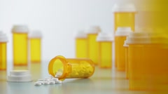 camera moves from bottles with medicine. Shot with slider. - stock footage