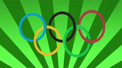 Rio 2016 carnival style olympic rings background loop green Stock Footage