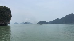 Islands of of Andaman Sea, Phang Nga Bay, Thailand Stock Footage