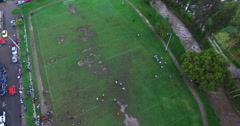 Football Field in Cuenca (overhead) Stock Footage