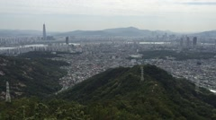 Panorama of Seoul, South Korea, skyline the top Stock Footage