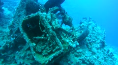 Military trucks Bedford, Military armored with abandoned in the Red Sea Stock Footage