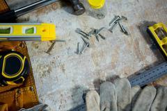 Zoom of carpenters tools - stock photo