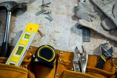 Zoom of carpenters tools - stock photo