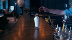 Barista serving a milk shake. 60 FPS slow motion shot. Blackmagic URSA Mini Stock Footage