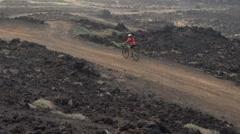Mountain Biking MTB Cyclist Woman Cycling on Bike Trail -  Female Mountain Biker Stock Footage