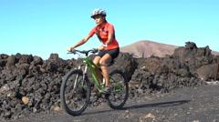 Mountain Biking MTB Cyclist Person Cycling on Biking Trail Stock Footage