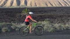 Mountain Biking MTB Cyclist Woman Cycling on Bike Trail -  Female Mountain Biker - stock footage