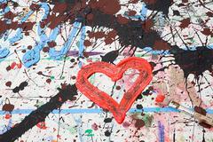 Heart shape in paint - stock photo
