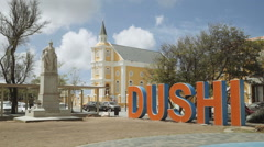 Dushi sign in Curacao, Netherland Antilles - stock footage
