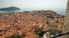 Pan shot of the UNESCO Old City of Dubrovnik Stock Footage