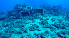 Cargo plumbing from the sunken ship Stock Footage