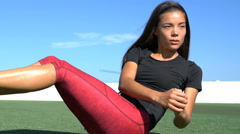 Abs exercise workout - Fitness woman doing Russian Twists - stock footage