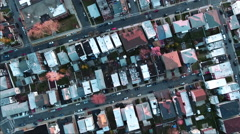 Cliffside Park NJ Overhead Flying Over Homes At Sunset - stock footage
