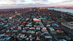 Cliffside Park NJ Aerial Shot Of Buildings At Sunset Flying Uptown - stock footage