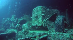 Car in the hold of a sunken ship SS Thistlegorm, Red Sea, Sharm el Sheikh, Stock Footage