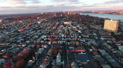 Cliffside Park NJ Flyover Buildings During Sunset With Some Trees Stock Footage