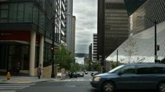 City Street, Seattle, Crosswalk, Pedestrians, Traffic - stock footage