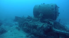 The steam locomotive crashed on board the wreck Thistlegorm Stock Footage