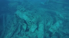 Motorcycle in the hold of a sunken ship SS Thistlegorm Stock Footage