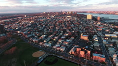 Cliffside Park NJ Aerial View Of Buildings During Sunset Stock Footage