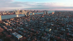 Northern NJ Panning Left and Slightly Going Backwards Viewing Manhattan Stock Footage