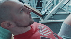 Athlete does workout for legs Stock Footage