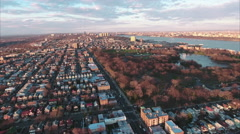 Northern NJ on the Hudson Aerial View Of Town & Park Stock Footage