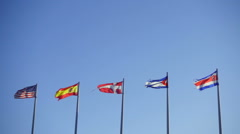 Slow motion of Few World Flags Used by the Wind - stock footage