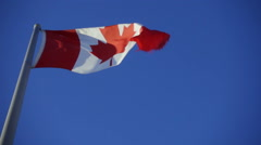 Slow motion Canadian Flag Waving Above Stock Footage